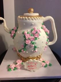 pink flower tea pot
