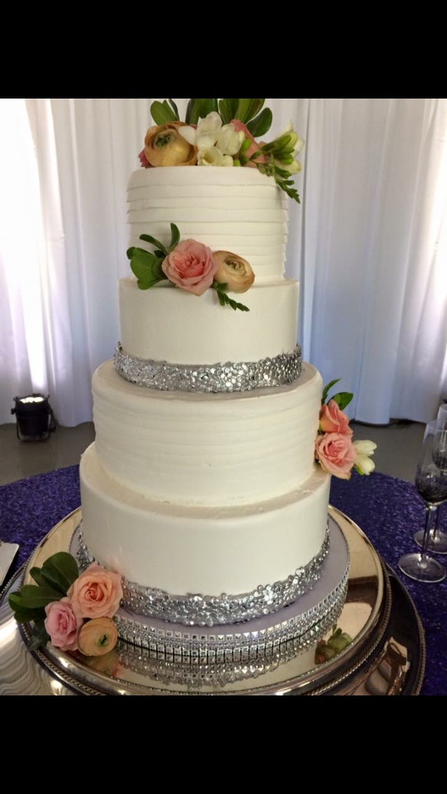 White Wedding Cake Silver Pretty Textured Bling Mom And Me Events Private Event Tulsa
